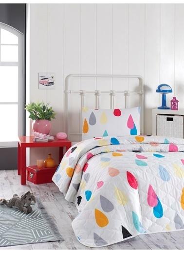 EnLora Home %100 Doğal Pamuk Kapitoneli Yatak Örtüsü Seti Tek Kişilik Vendula Mixrenk Renkli